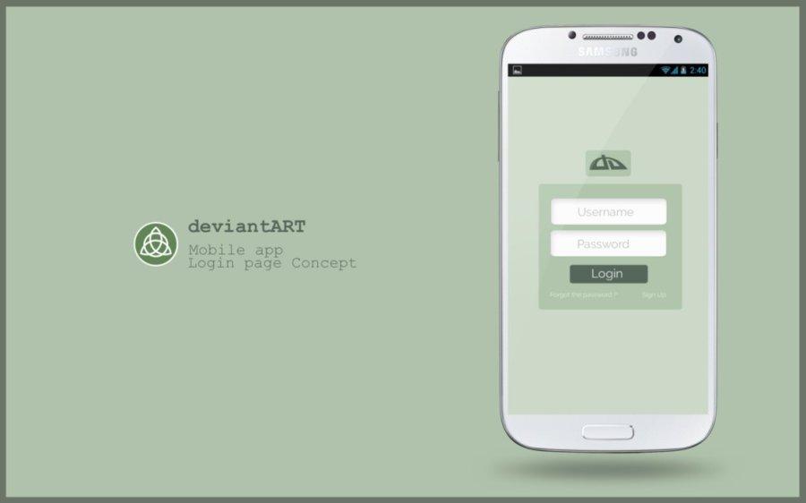 deviantART login concept [mobile app]