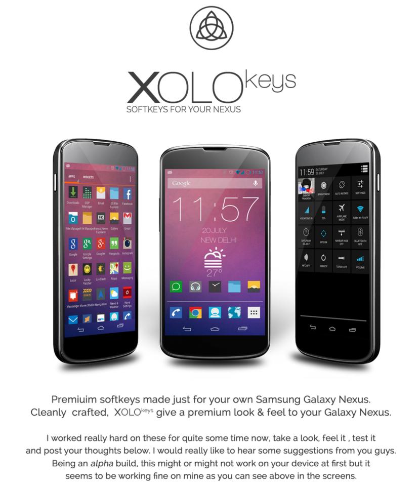 XOLO keys : Softkeys for your Nexus